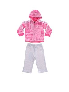 Adidas - Pink and grey Graphic Fleece jumpsuit