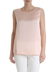 Kangra Cashmere - Sleeveless top in pure pink silk