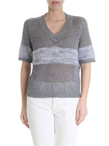 Lorena Antoniazzi - Blue and cream-colored V-neck sweater
