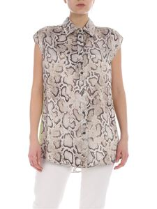 Pinko - Odilia shirt with snake print in beige shades
