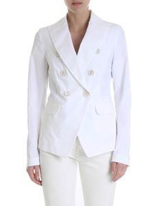 Lorena Antoniazzi - White double-breasted cotton jacket