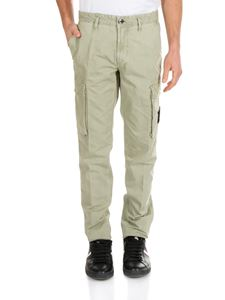 Stone Island - Sage green cargo trousers with logo