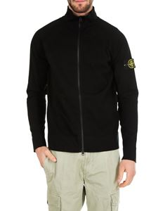 Stone Island - Black high-neck sweatshirt with zip