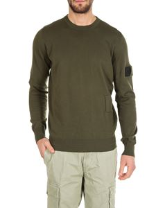 Stone Island - Army green pullover with stitchings