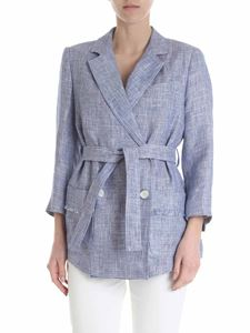 Lorena Antoniazzi - White and blue double-breasted jacket