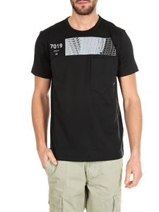 Stone Island - Black T-shirt with Shadow Project print