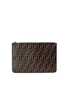 Fendi - Pouch in brown and black FF leather