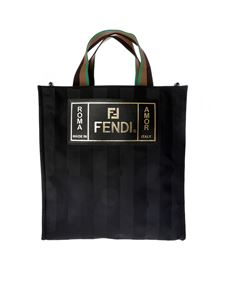 Fendi - Tote bag in black striped fabric