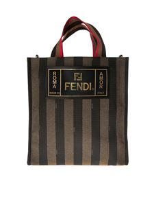 Fendi - Tote bag in brown striped fabric