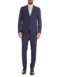 Etro - Blue wool suit with striped embroidery