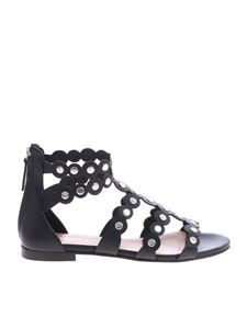 Twin-Set - Sandals in black leather with applied studs
