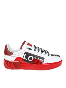 Dolce & Gabbana - White and red sneakers with liquid coating