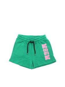 MSGM - Green shorts with MSGM College print