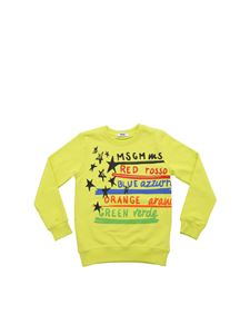 MSGM - Lime sweatshirt with multicolor print