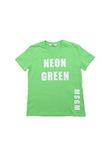 MSGM - Green T-shirt with Neon Green print