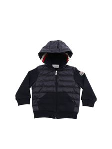 Moncler Jr - Blue hoodie with padded details