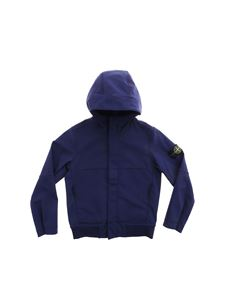 Stone Island Junior - Blue jacket with removable logo