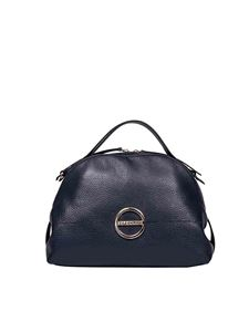Borbonese - Sexy Small bag in blue Borbonissima leather