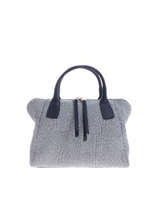 Borbonese - Blue leather bag with OP print
