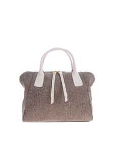 Borbonese - Brown leather bag with OP print