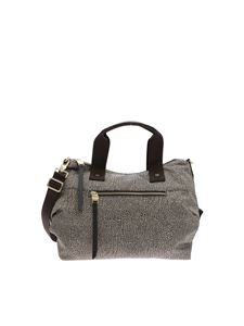 Borbonese - Brown bauletto bag with OP print