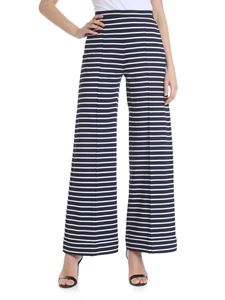 Max Mara Studio - Blue and white knitted palazzo trousers