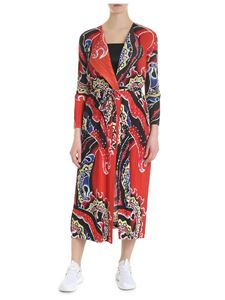 PLEATS PLEASE Issey Miyake - Red printed pleated overcoat
