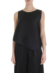 PLEATS PLEASE Issey Miyake - Black asymmetrical top