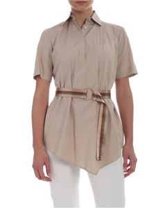 Barba - Barba blouse in taupe color with belt