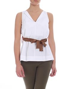 Barba - Barba top in white with ribbon