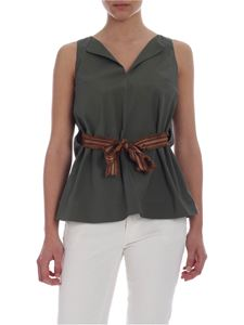 Barba - Barba top in green with ribbon