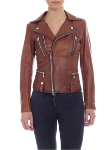 Desa 1972 - Brown leather jacket with shaded effect