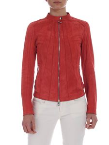 Desa 1972 - Suede jacket in coral red color