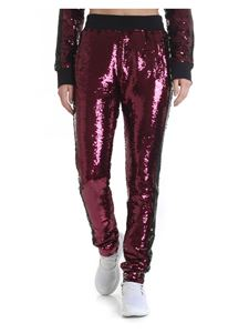 Chiara Ferragni - Burgundy and black trousers in sequins