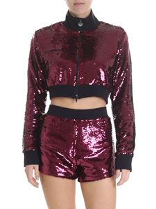 Chiara Ferragni - Burgundy and black crop jacket with sequins