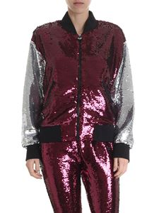 Chiara Ferragni - Burgundy and silver bomber in sequins
