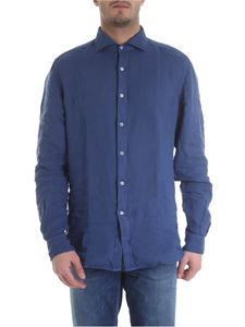 Fay - Shirt in pure blue linen