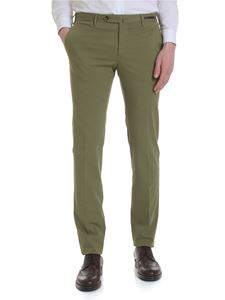 PT01 - Green cotton trousers with pleat