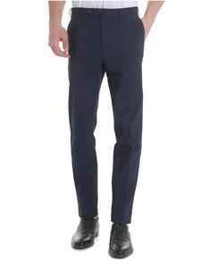 PT01 - Trousers in blue embossed cotton
