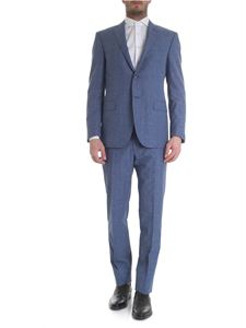 Corneliani - Two-button check patterned air force blue suit