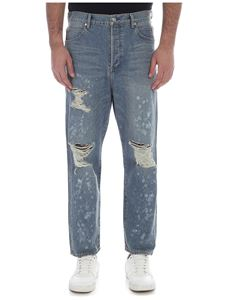 Balmain - Light blue jeans with rips and spots