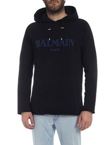 Balmain - Black hoodie with blue Balmain logo