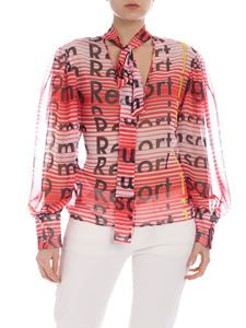 MSGM - Pink and red striped semi-transparent blouse