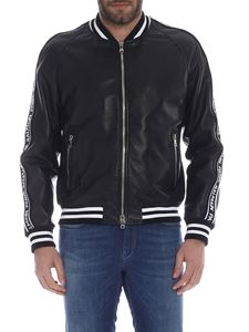 Balmain - Black bomber jacket in soft nappa leather with branded stripes