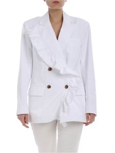 MSGM - White double-breasted jacket with ruffles