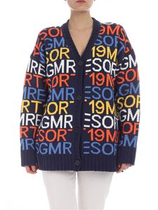 MSGM - Blue cardigan with multicolor intarsia