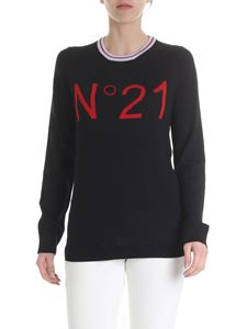 N° 21 - Black pullover with N21 intarsia