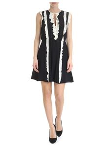 Red Valentino - Black silk dress with white ruffles