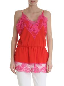 MSGM - Red and fuchsia top with lace details