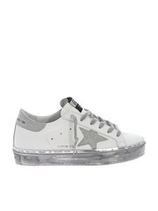 Golden Goose Deluxe Brand - White and silver glittered Hi Star sneakers